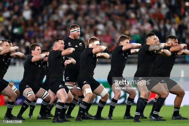 Kieran Read of New Zealand leads his players as they perform the haka prior to the Rugby World Cup 2019 Bronze Final match between New Zealand and...