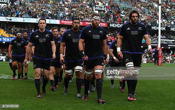 Kieran Read of New Zealand leads off the team during the The Rugby Championship match between South Africa and New Zealand at Growthpoint Kings Park...
