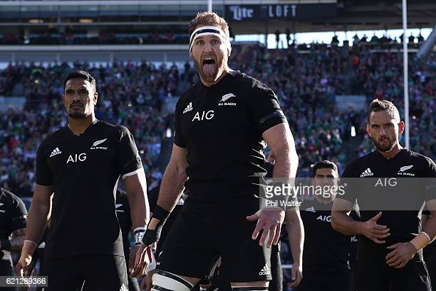 Kieran Read of New Zealand leads the Haka prior to kickoff during the international match between Ireland and New Zealand at Soldier Field on...