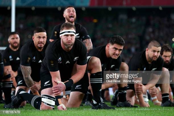 Kieran Read of New Zealand looks on as TJ Perenara of New Zealand performs The Haka with his teammates prior to the Rugby World Cup 2019 Quarter...