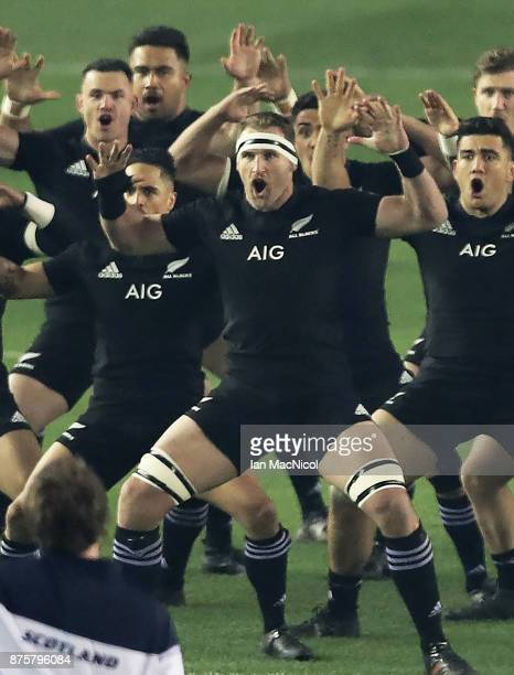 Kieran Read of New Zealand preforms the Hakka during the International test match between Scotland and New Zealand at Murrayfield Stadium on November...