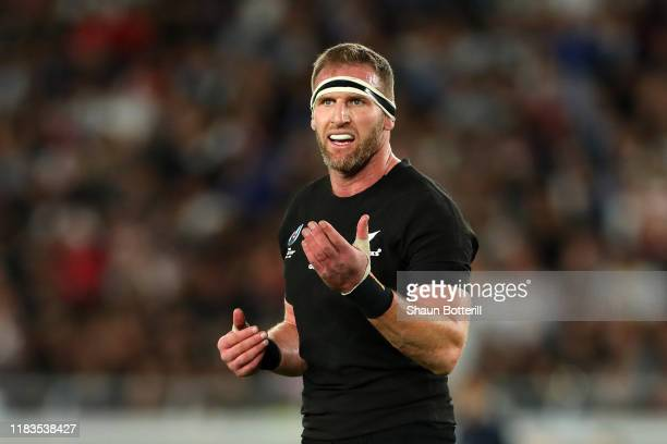 Kieran Read of New Zealand reacts during the Rugby World Cup 2019 Semi-Final match between England and New Zealand at International Stadium Yokohama...