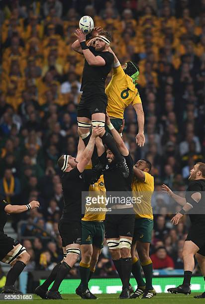 Kieran Read of New Zealand wins a line out from Scott Fardy of Australia during the Rugby World Cup Final between New Zealand and Australia at the...