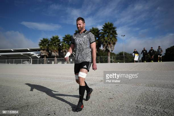 Kieran Read of the All Black arrives for a New Zealand All Blacks training session at Auckland Blues HQ on May 22 2018 in Auckland New Zealand