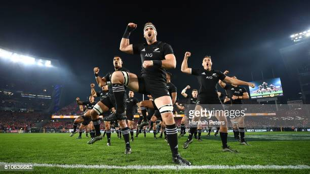 Kieran Read of the All Blacks and his team perform the Haka prior to kickoff during the third test match between the New Zealand All Blacks and the...