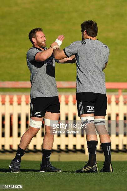 Kieran Read of the All Blacks and Sam Whitelock of the All Blacks perform a drill during a New Zealand All Blacks training session at North Sydney...