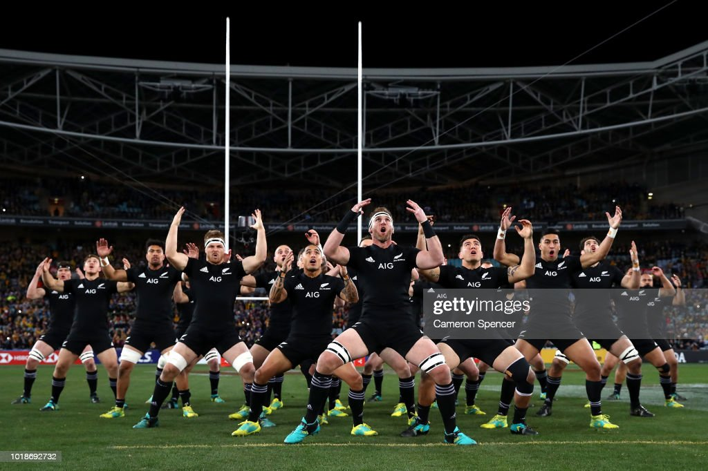 Kieran Read of the All Blacks and team mates perform the Haka during The Rugby Championship Bledisloe Cup match between the Australian Wallabies and the New Zealand All Blacks at ANZ Stadium on August 18, 2018 in Sydney, Australia.