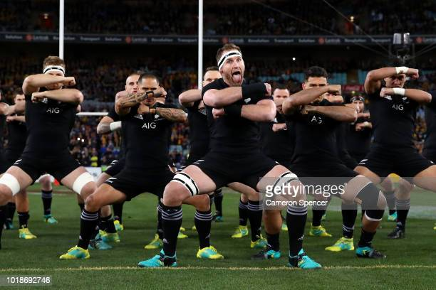 Kieran Read of the All Blacks and team mates perform the Haka during The Rugby Championship Bledisloe Cup match between the Australian Wallabies and...