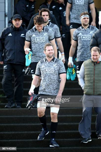 Kieran Read of the All Blacks arrives for a New Zealand All Blacks training session at Mt Smart Stadium on June 5 2018 in Auckland New Zealand