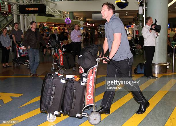 Kieran Read of the All Blacks arrives home at Auckland International Airport following the New Zealand All Blacks successful Grand Slam Spring Tour...