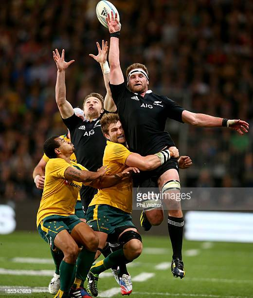 Kieran Read of the All Blacks attempts to collect the loose ball during The Rugby Championship match between the New Zealand All Blacks and the...