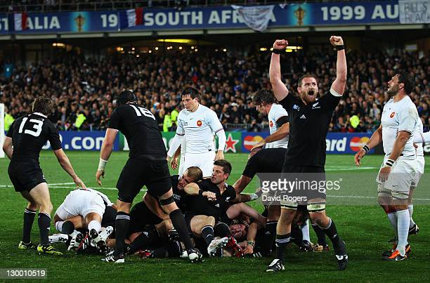 Kieran Read of the All Blacks celebrates victory at the final whistle during the 2011 IRB Rugby World Cup Final match between France and New Zealand...