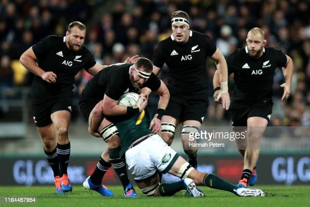 Kieran Read of the All Blacks charges forward during the 2019 Rugby Championship Test Match between New Zealand and South Africa at Westpac Stadium...