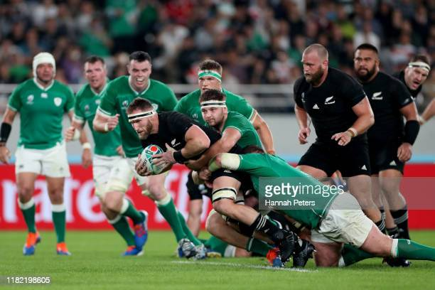 Kieran Read of the All Blacks charges forward during the Rugby World Cup 2019 Quarter Final match between New Zealand and Ireland at the Tokyo...