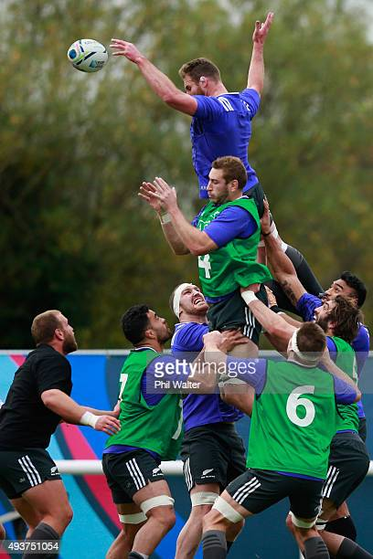 Kieran Read of the All Blacks clears the ball from the lineout during a New Zealand All Blacks training session at London Irish on October 22 2015 in...