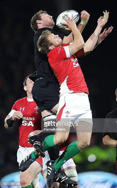Kieran Read of the All Blacks competes with Dan Biggar of Wales in the air during the First Test match between the New Zealand All Blacks and Wales...