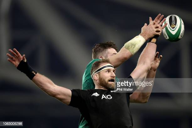 Kieran Read of the All Blacks contests te lineout during the International Friendly match between the New Zealand All Blacks and Ireland on November...