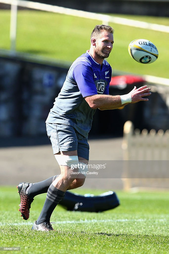 Kieran Read of the All Blacks during a New Zealand All Blacks training session at North Sydney Oval on August 16, 2016 in Sydney, Australia.