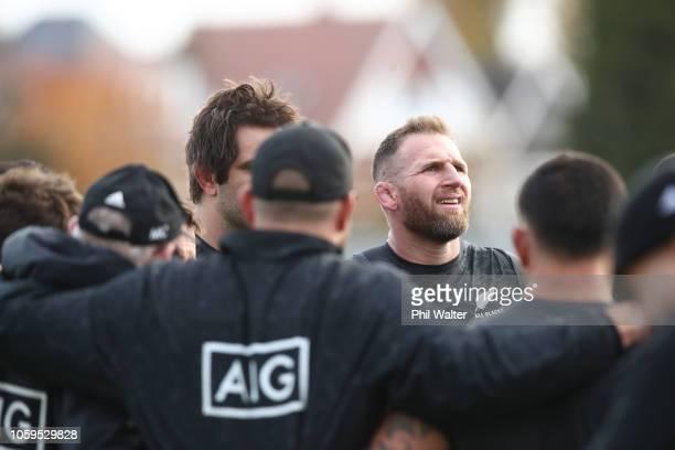 Kieran Read of the All Blacks during a New Zealand All Blacks captain's run at The Lensbury on November 9, 2018 in London, England.