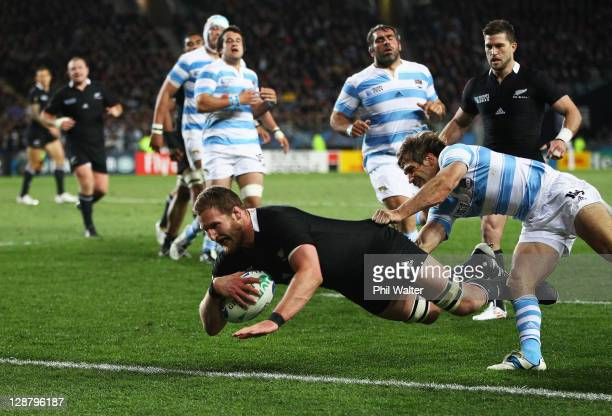 Kieran Read of the All Blacks goes over to score his try during quarter final four of the 2011 IRB Rugby World Cup between New Zealand and Argentina...