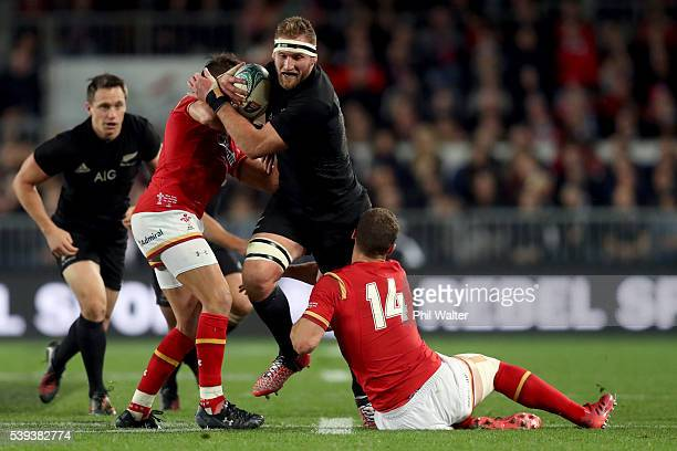 Kieran Read of the All Blacks is tackled by George North of Wales during the International Test match between the New Zealand All Blacks and Wales at...