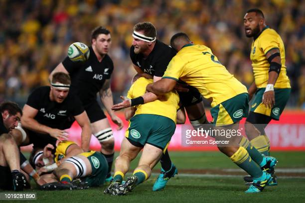 Kieran Read of the All Blacks is tackled during The Rugby Championship Bledisloe Cup match between the Australian Wallabies and the New Zealand All...