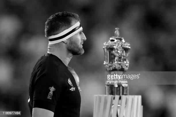 Kieran Read of the All Blacks leads his team out ahead of the Rugby World Cup 2019 Semi-Final match between England and New Zealand at International...