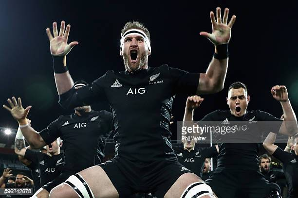 Kieran Read of the All Blacks leads the haka during the Bledisloe Cup Rugby Championship match between the New Zealand All Blacks and the Australia...