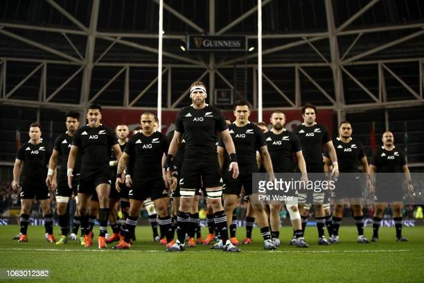 Kieran Read of the All Blacks leads the haka during the International Friendly match between the New Zealand All Blacks and Ireland on November 17,...
