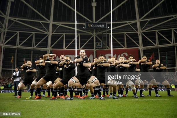 Kieran Read of the All Blacks leads the haka during the International Friendly match between the New Zealand All Blacks and Ireland on November 17...