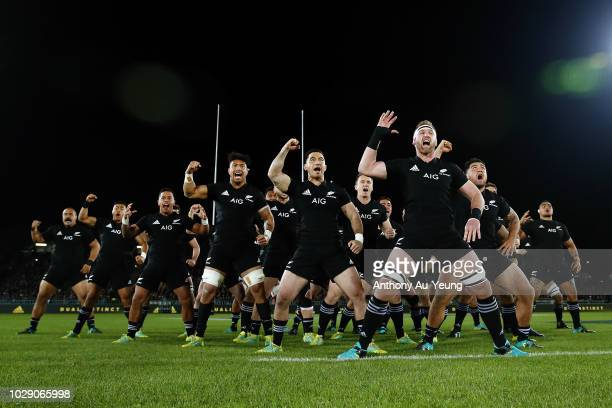Kieran Read of the All Blacks leads the haka during The Rugby Championship match between the New Zealand All Blacks and Argentina at Trafalgar Park...