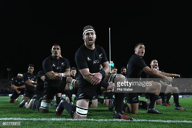 Kieran Read of the All Blacks leads the haka during the Rugby Championship match between the New Zealand All Blacks and Argentina at Waikato Stadium...