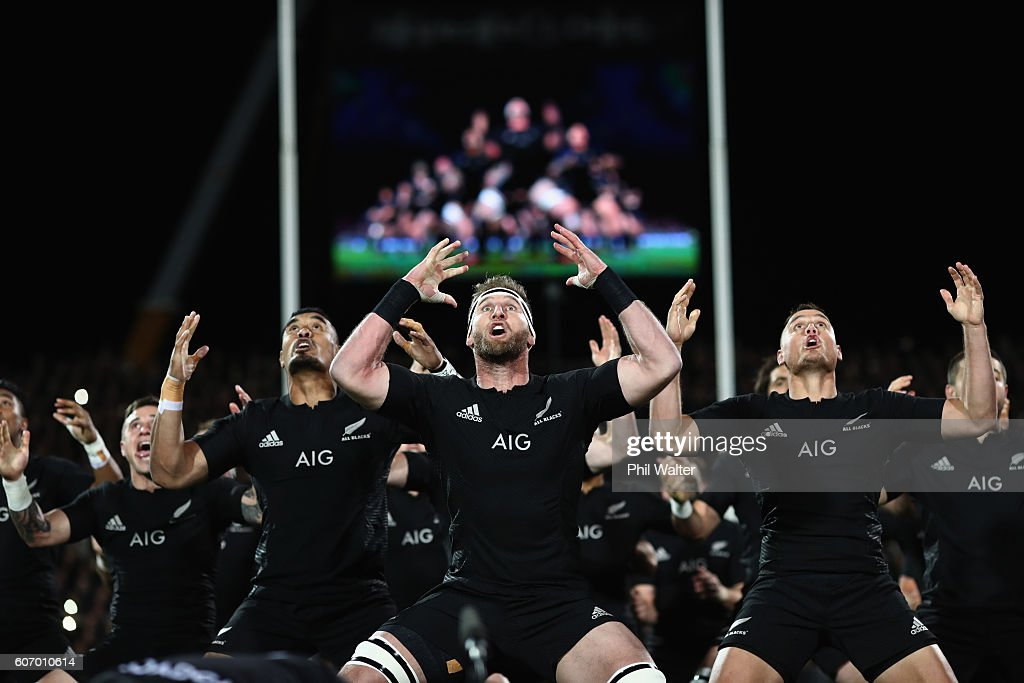 Kieran Read of the All Blacks leads the haka during the Rugby Championship match between the New Zealand All Blacks and the South Africa Springboks at AMI Stadium on September 17, 2016 in Christchurch, New Zealand.
