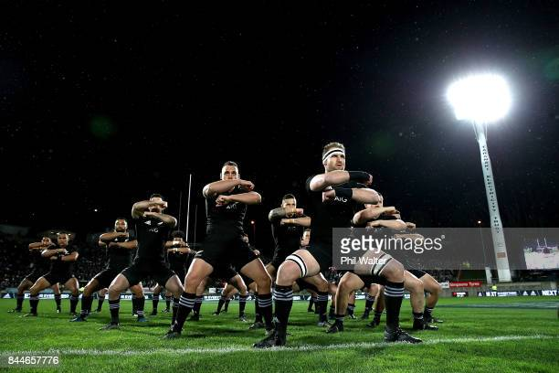 Kieran Read of the All Blacks leads the haka during The Rugby Championship match between the New Zealand All Blacks and Argentina at Yarrow Stadium...