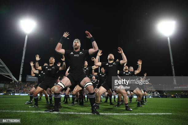 Kieran Read of the All Blacks leads the haka during the Rugby Championship match between the New Zealand All Blacks and the South African Springboks...