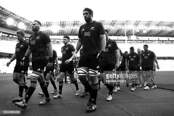 Kieran Read of the All Blacks leads the team in after warming up ahead of the Bledisloe Cup test match between the New Zealand All Blacks and...