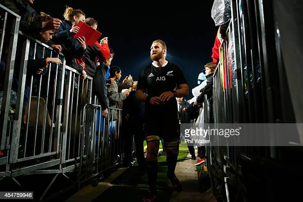 Kieran Read of the All Blacks leaves the field following The Rugby Championship match between the New Zealand All Blacks and Argentina at McLean Park...