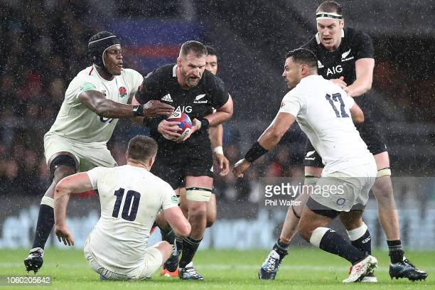 Kieran Read of the All Blacks makes a break during the Quilter International match between England and New Zealand at Twickenham Stadium on November...