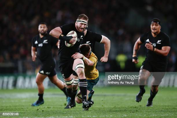 Kieran Read of the All Blacks on the charge during The Rugby Championship Bledisloe Cup match between the New Zealand All Blacks and the Australia...