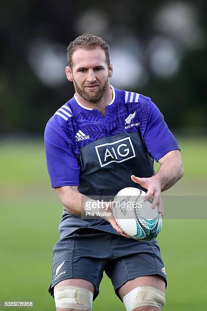 Kieran Read of the All Blacks passes during a New Zealand All Blacks training session at Trusts Stadium on May 31 2016 in Auckland New Zealand