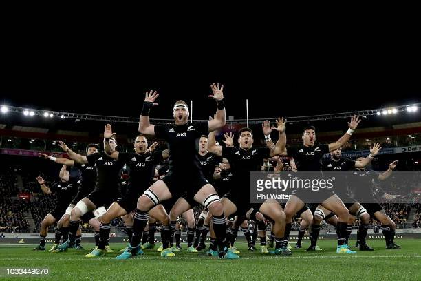 Kieran Read of the All Blacks performs the haka during The Rugby Championship match between the New Zealand All Blacks and the South Africa...
