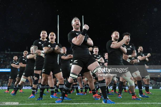 Kieran Read of the All Blacks performs the Haka with team mates during The Rugby Championship and Bledisloe Cup Test match between the New Zealand...