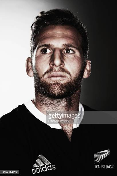 Kieran Read of the All Blacks poses during a New Zealand All Blacks portrait session on May 26 2014 in Wellington New Zealand