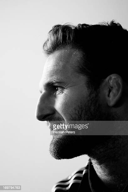 Kieran Read of the All Blacks poses for a portrait during the New Zealand All Blacks squad announcement at the Heritage Hotel on June 2 2013 in...