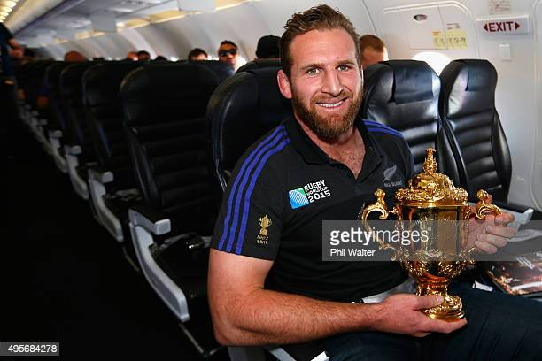 Kieran Read of the All Blacks poses with the Webb Ellis Cup enroute to Christchurch for the New Zealand All Blacks welcome home celebrations on...