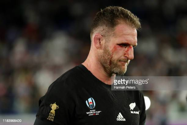 Kieran Read of the All Blacks reacts after losing the Rugby World Cup 2019 Semi-Final match between England and New Zealand at International Stadium...