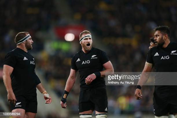 Kieran Read of the All Blacks reacts during The Rugby Championship match between the New Zealand All Blacks and the South Africa Springboks at...