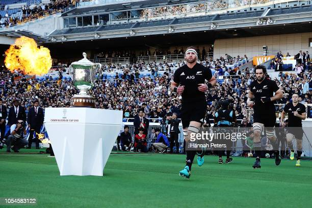 Kieran Read of the All Blacks runs out ahead of the Bledisloe Cup test match between the New Zealand All Blacks and Australian Wallabies at Nissan...