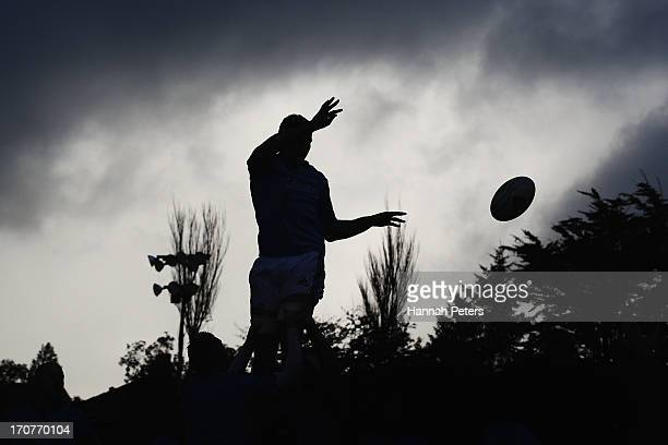 Kieran Read of the All Blacks runs through lineout drills at Yarrow Stadium on June 18 2013 in New Plymouth New Zealand