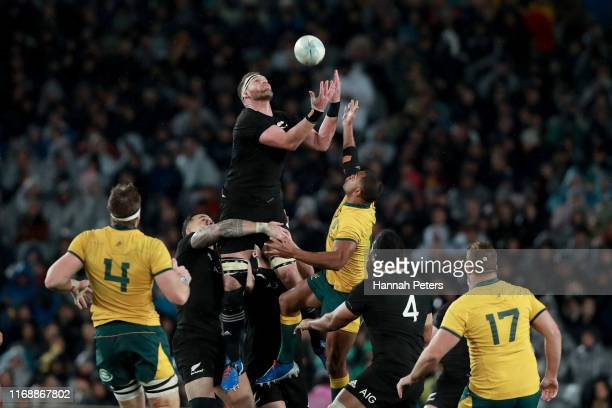 Kieran Read of the All Blacks secures the high ball during the 2019 Rugby Championship Test Match between the New Zealand All Blacks and the...